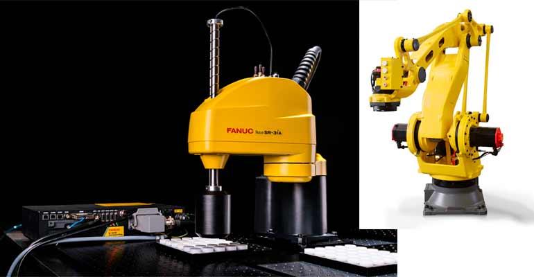 El robot SCARA FANUC SR-3iA (izda.) y el nuevo robot FANUC M-410iC/110 (dcha.)