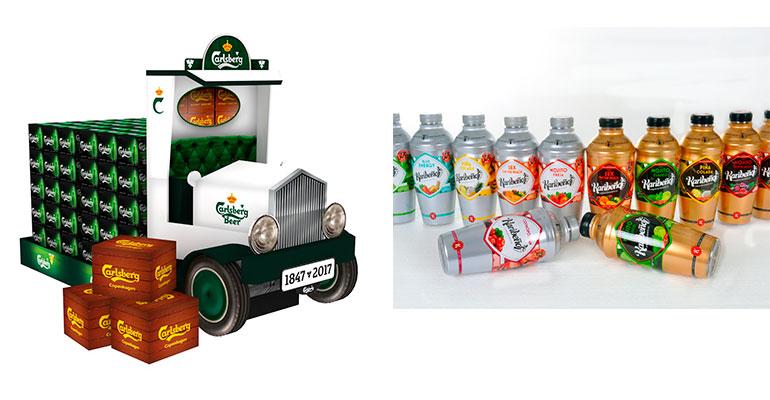 Un camión de cartón de PLV para Carlsberg (izda.) y sleeve para botellas de mojito Karibreño (dcha.), premiados como los mejores de 2017